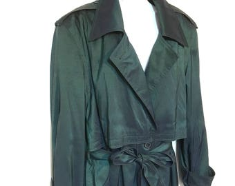 Metallic Green Trench Coat Women's Size 24 NWT Vintage 80s sharkskin coat