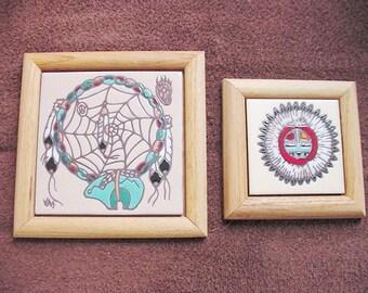 Southwestern Native Tiles Framed Set of 2 Earthtones or Kachina Sun Dancer Free US shipping