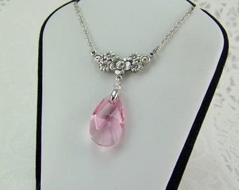 Pink Topaz Necklace, Topaz Teardrop Necklace, October Birthstone, Pale Pink Necklace, Swarovski Crystal Topaz, Pink Crystal, Topaz Briolette