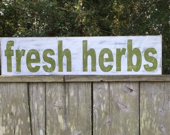 Fresh Herb sign,Fixer Upper Inspired Signs,30x7.25 Rustic Wood Signs, Farmhouse Signs, Wall Décor