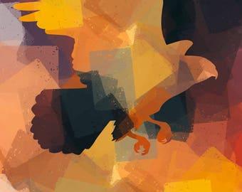 Hawk in Flight – Abstract Art - Original Wildlife Art - Downloadable Art Print - Instant Download – Exclusive