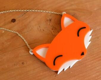 "Fox Necklace - Fox Statement Necklace - Animal Necklace - Acrylic Necklace 15"" or 18"" Chain Handmade Necklace - Cute Necklace - Orange Fox"