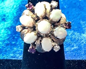 Vintage 14k Yellow Gold Diamond, Ruby & Opal Statement Ring