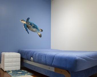 Large Sea Turtle Reusable Adhesive Wall Decal | seat turtle wall art turtle gifts turtle lover nursery wall art turtle wall art kids room