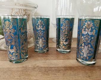 Set of 4 Vintage Drinking glasses Blue Gold Etched Design Highball