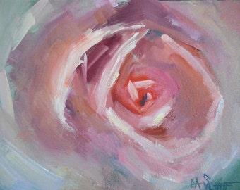 "Impressionist Pink Rose Painting, Small Oil Painting, Rose Still Life, 6x8"" Oil on Panel, Free Shipping in US"