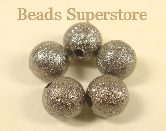 6 mm Gunmetal-Plated Brass Stardust Round Bead - Nickel Free and Lead Free - 30 pcs