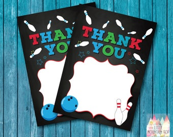 Bowling Thank You Card - Blues