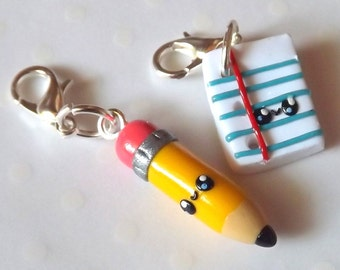 Best Friend Charms - Pencil and Paper BFF - Polymer Clay Charms - Best Friend Necklaces - Kawaii Clay Charms - Friendship Charms - Charm Set