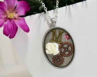 steampunk necklace, vintage necklace, gear necklace, initial necklace, steampunk jewelry, gear jewelry, monogram necklace, initial