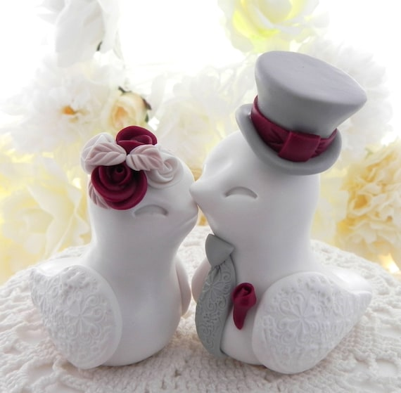 Love Birds Wedding Cake Topper, White and Burgundy, Bride and Groom Keepsake, Fully Custom