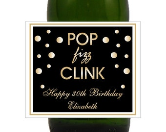 Pop Fizz Clink, Birthday Labels, New Years Eve Wedding, Bachelorette Party, Mini Champagne Labels, New Years Eve, Bubbly (Set of 24)( LPFC)
