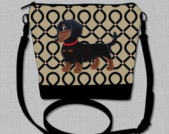 Dachshund Cross Body Bag with Appliqued Black and Tan Smooth Hair Flirty Dachshund - Made to Order