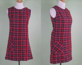 1960s Sleeveless Plaid Wool Dress - VTG 1950s 60s - Holiday Dress - Small