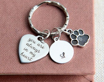 Pet Memorial Keychain, Dog Memorial Keychain, Cat Memorial, Pet Loss Gift, Paw Print Keychain, Dog Lover Gift, You are always in my heart
