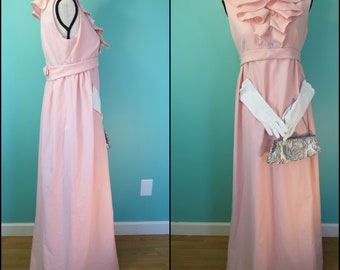 Vintage Dress |  Pink 1960s Dress -Prom Formal- w/ Purse, VTG Gloves-Size Small S-Sleeveless maxi, empire waist Jackie Kennedy Dress Costume