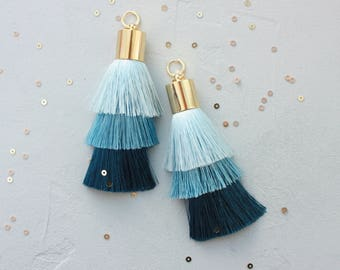 Three Shades of Blue Tassel Earrings Style women earrings Long earrings  Earrings tassel Silk Earrings Artig tassel