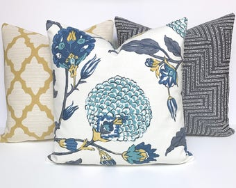 Modern gray, teal, blue and yellow floral decorative pillow cover