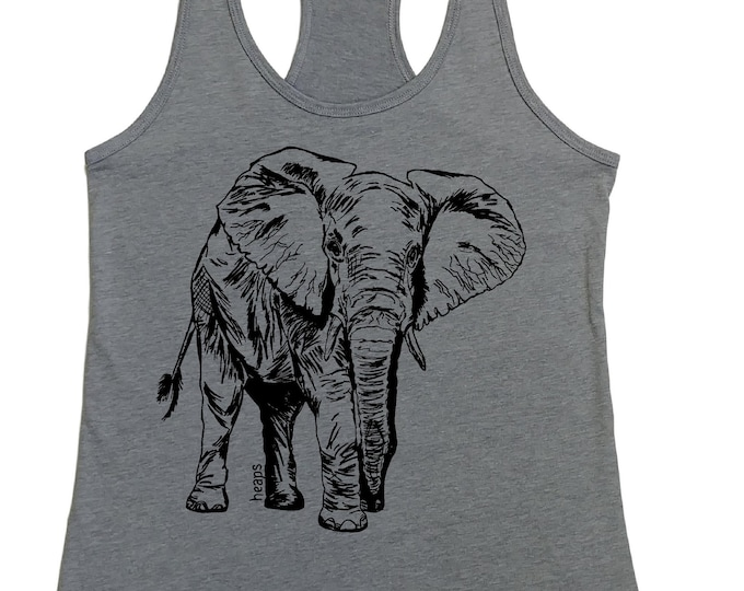 Tank Tops for Women - Elephant Tank Top -  African Tank Top - Graphic Tank Top - Beach Clothes - Exercise Tanks - Womans Tee Africa Animals