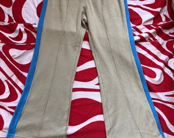 Vintage 1970s 70s tan JcPenny's tennis athletic sweat pants flared bell bottom Men's small