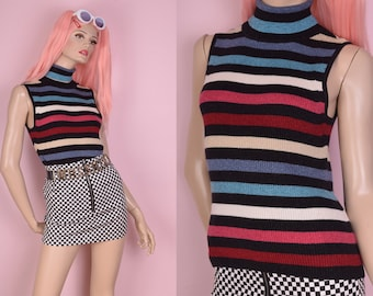 90s Multicolor Striped Sparkly Ribbed Knit Turtleneck/ Large/ 1990s/ Tank/ Sleeveless