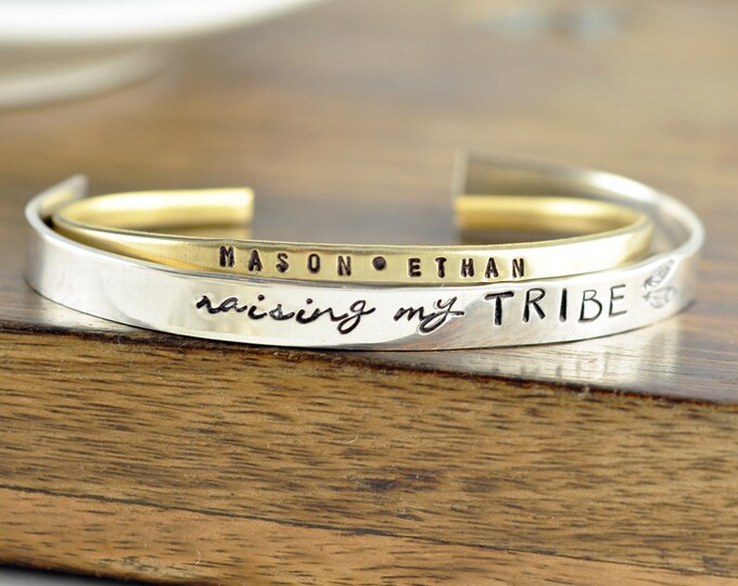 Personalized Mother Bracelet, Mommy Bracelet, Tribe Bracelet, Mothers Day Gift, Gift for Mom, Mother's Jewelry, Name Cuff Bracelet