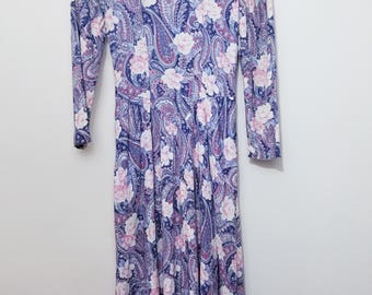 Vintage Midi Dress // Vintage 3/4 Sleeve Dress // Vintage Paisley Dress // Paisley Dress