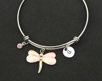 Personalized Dragonfly Bangle Dragonfly Bracelet