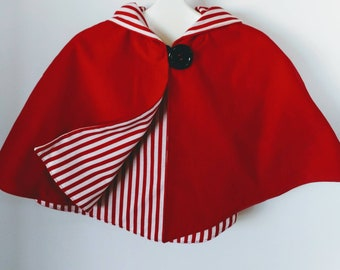 Toddler Lil Red Riding Hood or Elf Reversible Capelet with Striped Lining One Size 1-3T