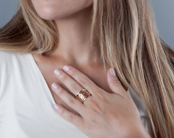 Rose Gold Ring, Unique Ring, Bohemian Ring, Red Gold Ring, Wide Lace Ring, Statement Ring, Womens Ring, Boho Ring, Chunky Ring Gold Dainty
