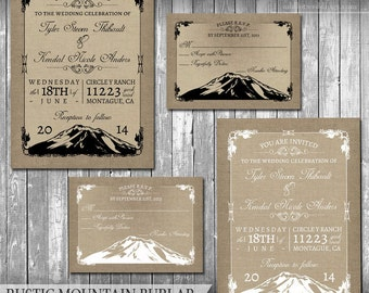 Rustic Mountain Wedding Invitation Set Woodsy Wedding Invites Outdoor Nature Invite Woodland Wedding Template Mountains Forest Printable