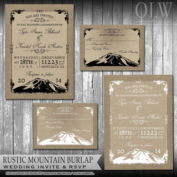 Rustic Mountain Wedding Invitation Set Woodsy Wedding Invites