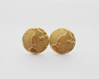 Gold Globe Studs, Globe Earrings, World Earrings, Travel Earrings, Planet Earrings, Earth Earrings, Cartographer Earrings, Travel Jewelry