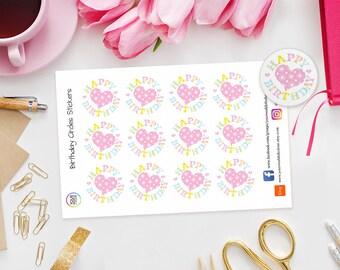 Happy Birthday Planner Stickers for Erin Condren Life Planner, Kikki K, Happy Planner, Schedule, Filofax, TN, Birthday, Reminders, Plan