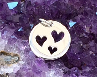 Heart Charm, Heart Pendant, Three Cut Out Heart Charm, Sterling Silver Heart Charm, Heart Cut Out Charm, Circle Heart Charm