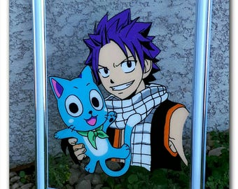 "Realization on glass ""Natsu & Happy"" frame"