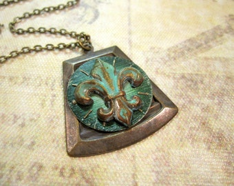 OOAK Fleur de Lis , One of a Kind, Steampunk Necklace, Vintage Watch Face, Verdigris, Green, Cosplay Jewelry, Unique Steampunk, Rustic, Noir