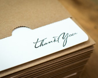 25 Letterpress Rustic Script Thank You Note Cards with Sturdy Kraft Paper Envelopes