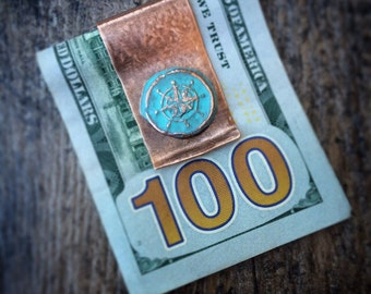 Hand Forged Copper Money Clip - Nautical Compass Rose - Rustic Gifts for 7th Wedding Anniversary, Graduation, Groomsmen or Badass Chicks