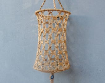 Macrame Basket, Hanging Planter, Rustic Decor, Wall Hanging, Evil Eye, Hallway, Living room, Craft Room, Bedroom