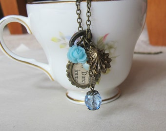 Jane Austen Charm Necklace - Pride and Prejudice Pastel Blue Beaded Mr Darcy - Skeleton Key Vintage Jewelry For Women Floral Botanical Gift