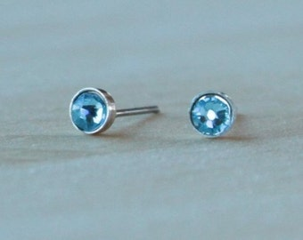Swarovski Aquamarine Crystal (4mm / 5mm) Bezel Set on Niobium / Titanium Posts (Hypoallergenic & Nickel Free Earrings for Sensitive Ears)