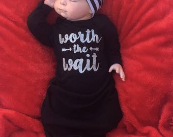 Newborn gown, baby girl, coming home outfit, newborn girl, newborn hospital outfit, going home outfit