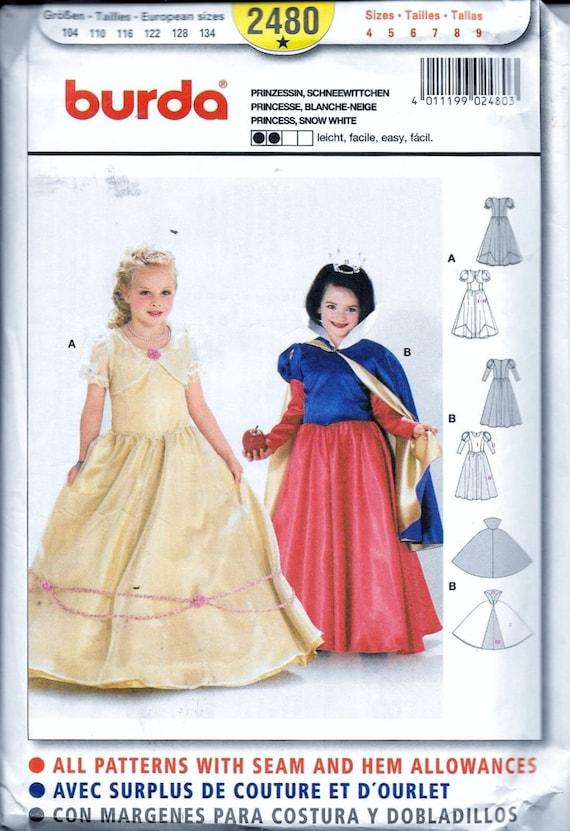Burda Schnittmuster 2480 Schnee weißes Kostüm Prinzessin Belle