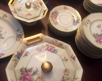 Very Rare Set of Antique Theodore Haviland Limoges China,1920's, France, Nosegay Pattern,71 Pieces,24 Karat Gold Trim,Beautiful Flowers