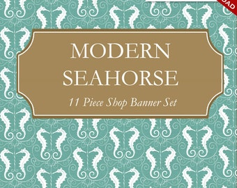 Custom Etsy Banner and Avatar Design Set - 11 Piece Modern Seahorse - msh - Whimsical Ocean Animal Reef DIY Template