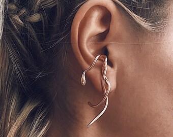 Snake ear cuff,rose gold ear cuff,snake ear piece,rose gold snake earrings,black ear cuff,black snake earring,gold suspender earring
