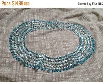 On Sale Cleopatra Style White and Turquoise Blue Beaded Choker Necklace Costume Jewelry Fashion Accessory