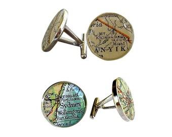 Sterling Silver Cufflinks Vintage Maps Wedding  Cuff Links for Groom or Dad