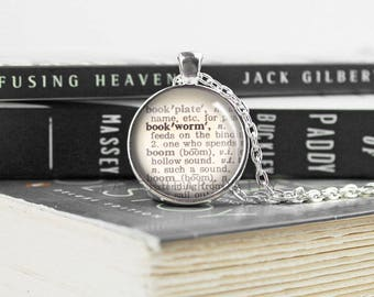 Bookworm Necklace - Bookworm for Her - Dictionary Necklace - Book Jewelry - Reading Necklace - Gift for Bookworm - Book Gifts -   (B6020)